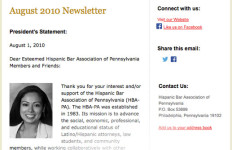 HBAPA (Hispanic Bar Association of Pennsylvania) - Monthly Email Newsletter