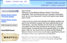 Medical Mission Sisters Thrift Shop - Email Newsletter
